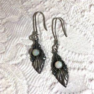 Delicate vintage opal sterling silver earrings